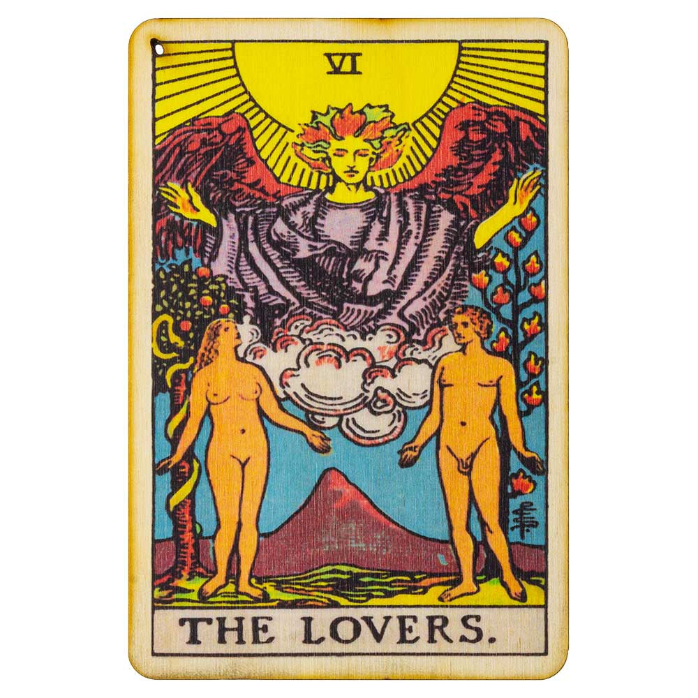 Top view of the Lovers Tarot Card incense burner's detailed print.
