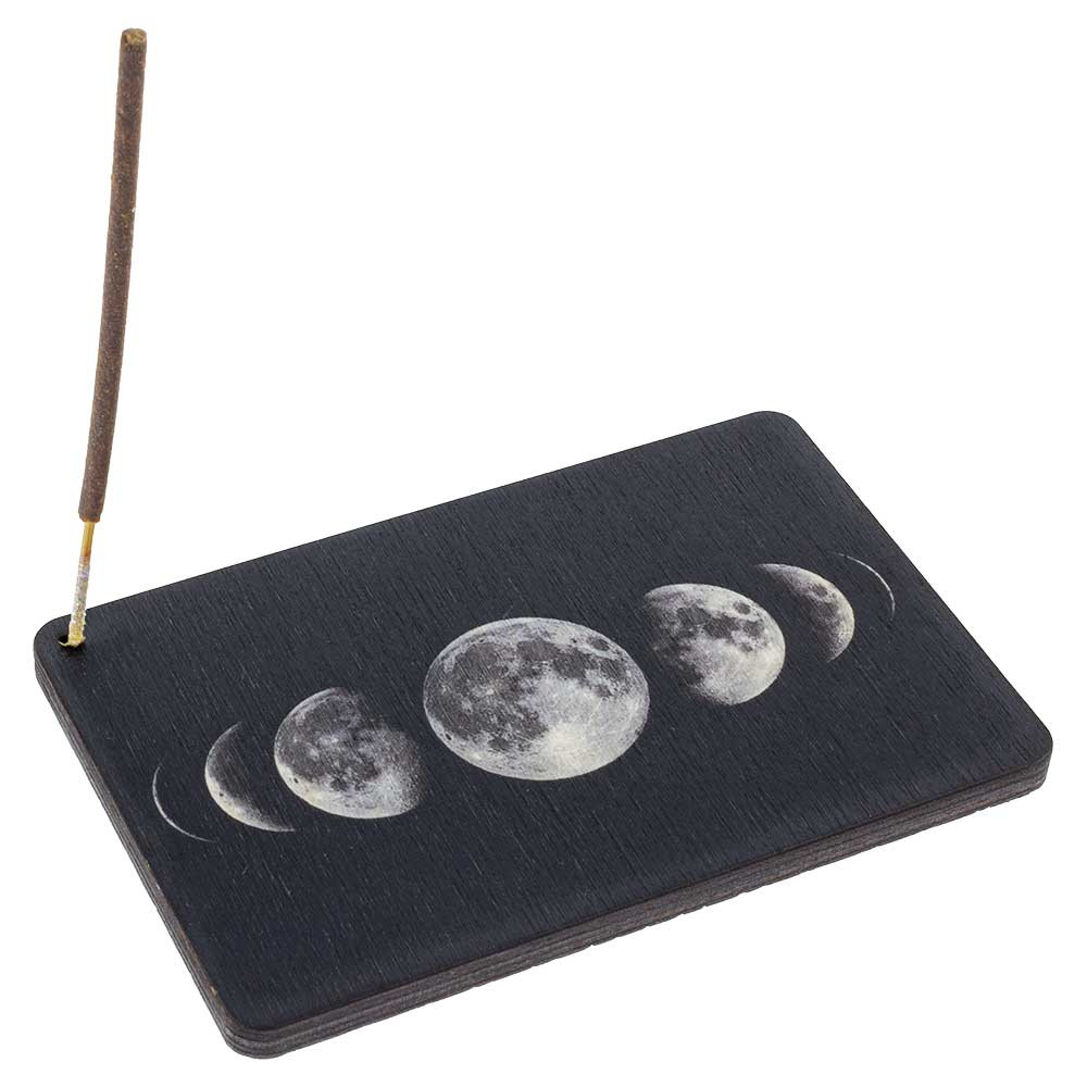 The Moon Phases incense burner with a Shortie incense stick.