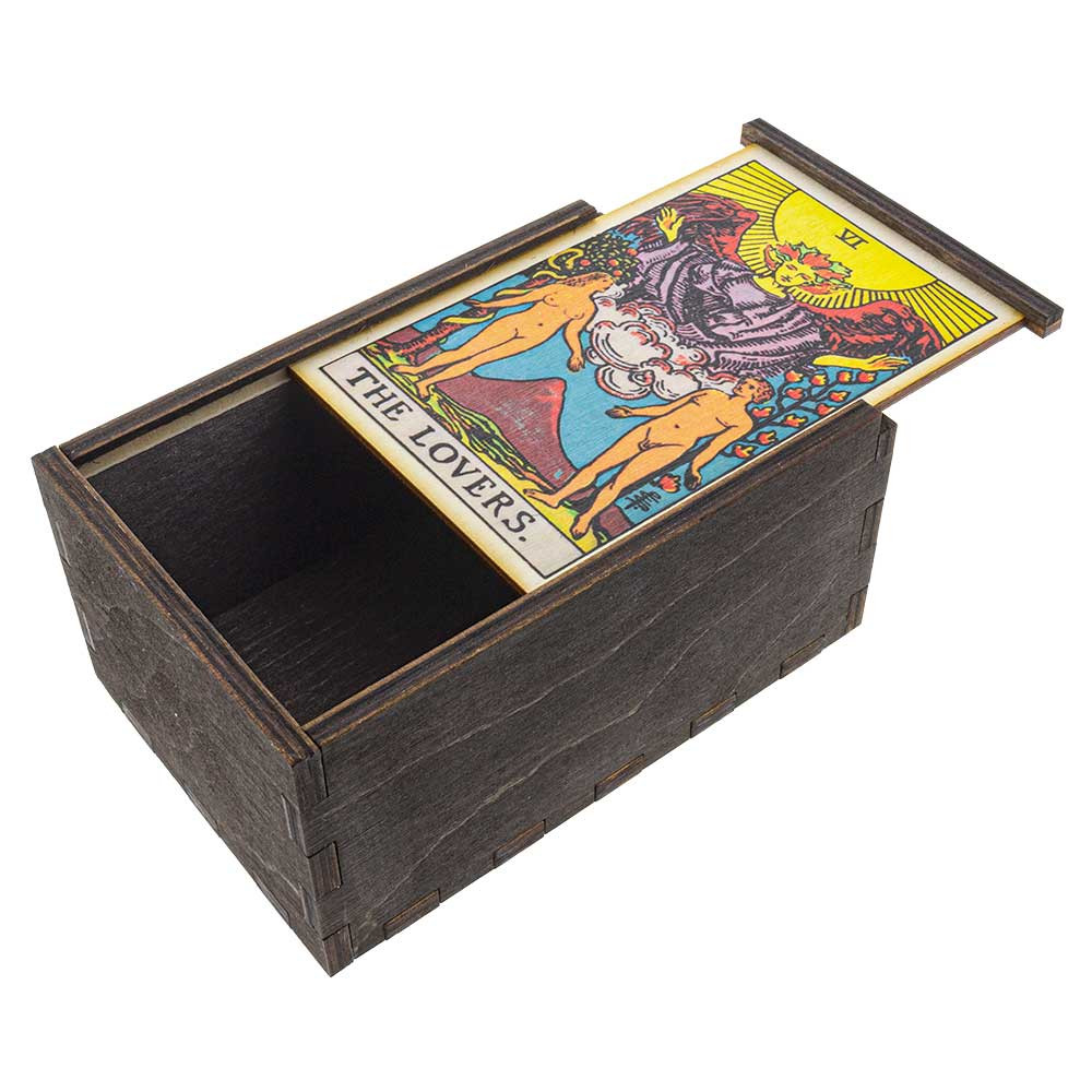 Lovers Tarot wooden stash box with top tray slightly ajar.