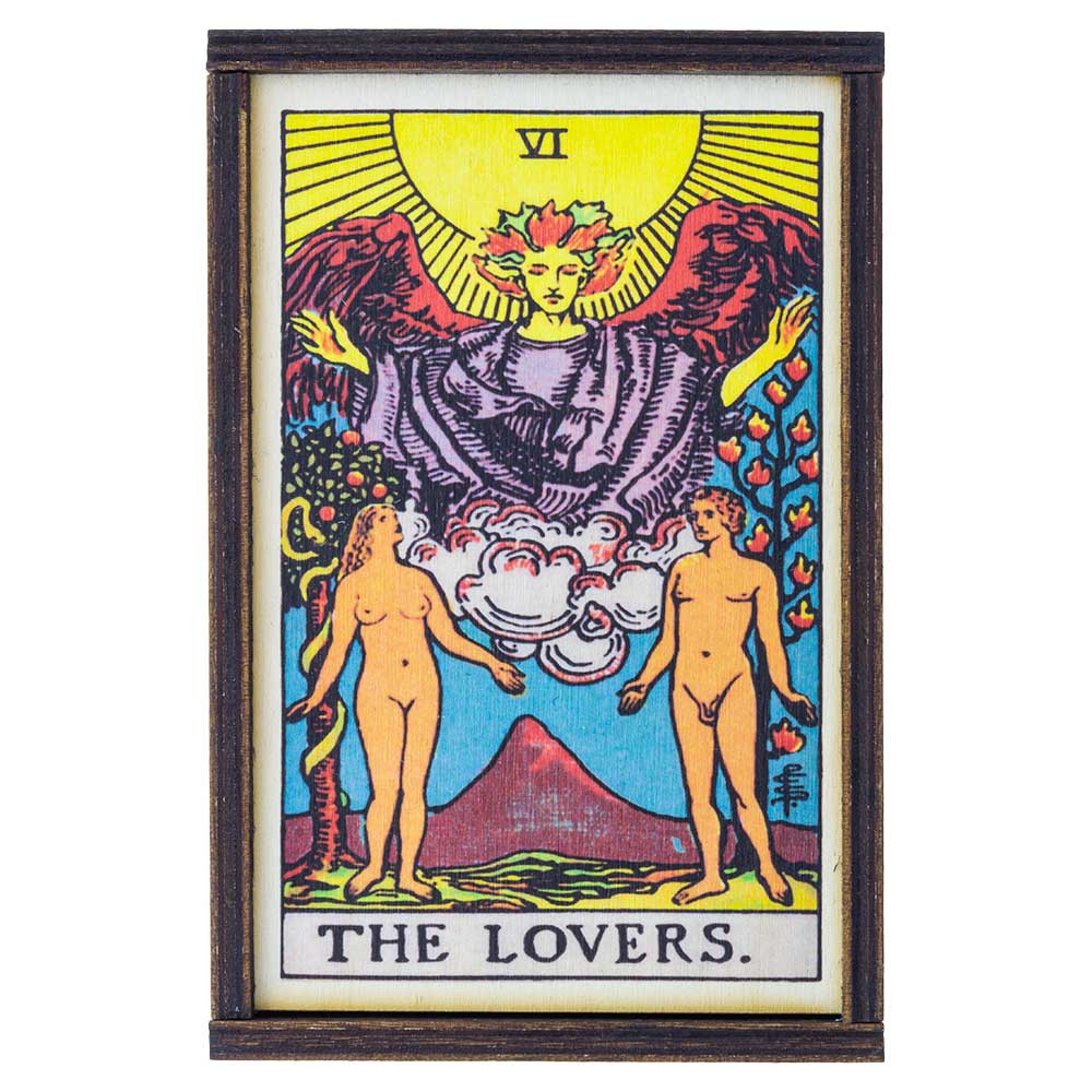 Top view of the Lovers Tarot-themed medium stash box.