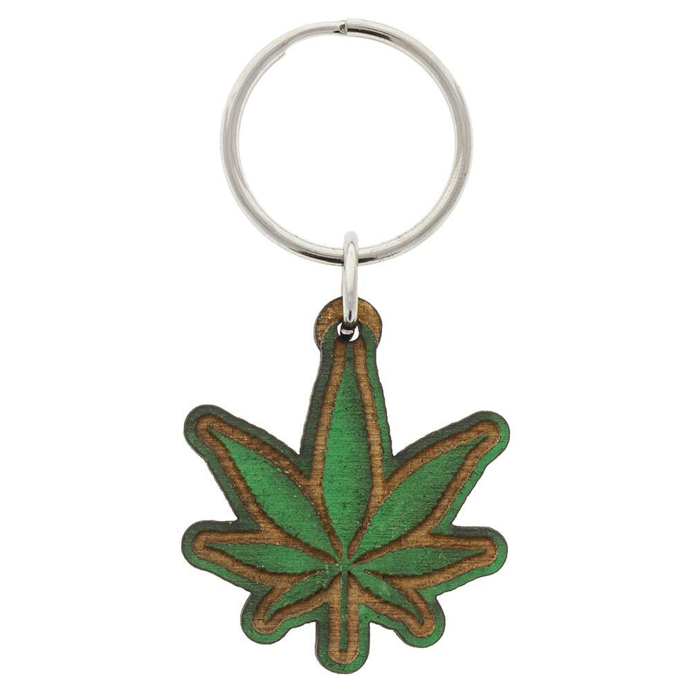 Marijuana Leaf Wooden Keychain