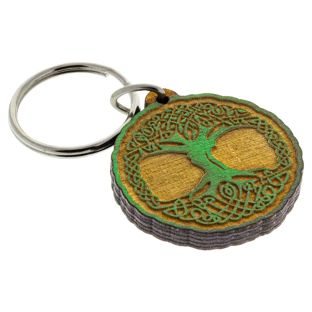 """Etched and painted Tree of Life keychain crafted from 1/4"""" Baltic birch wood."""