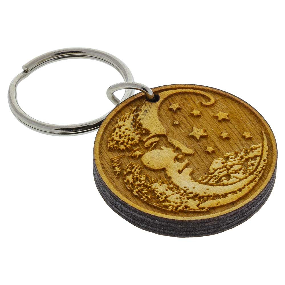 """Etched Moon keychain handcrafted from 1/4"""" Baltic birch wood."""