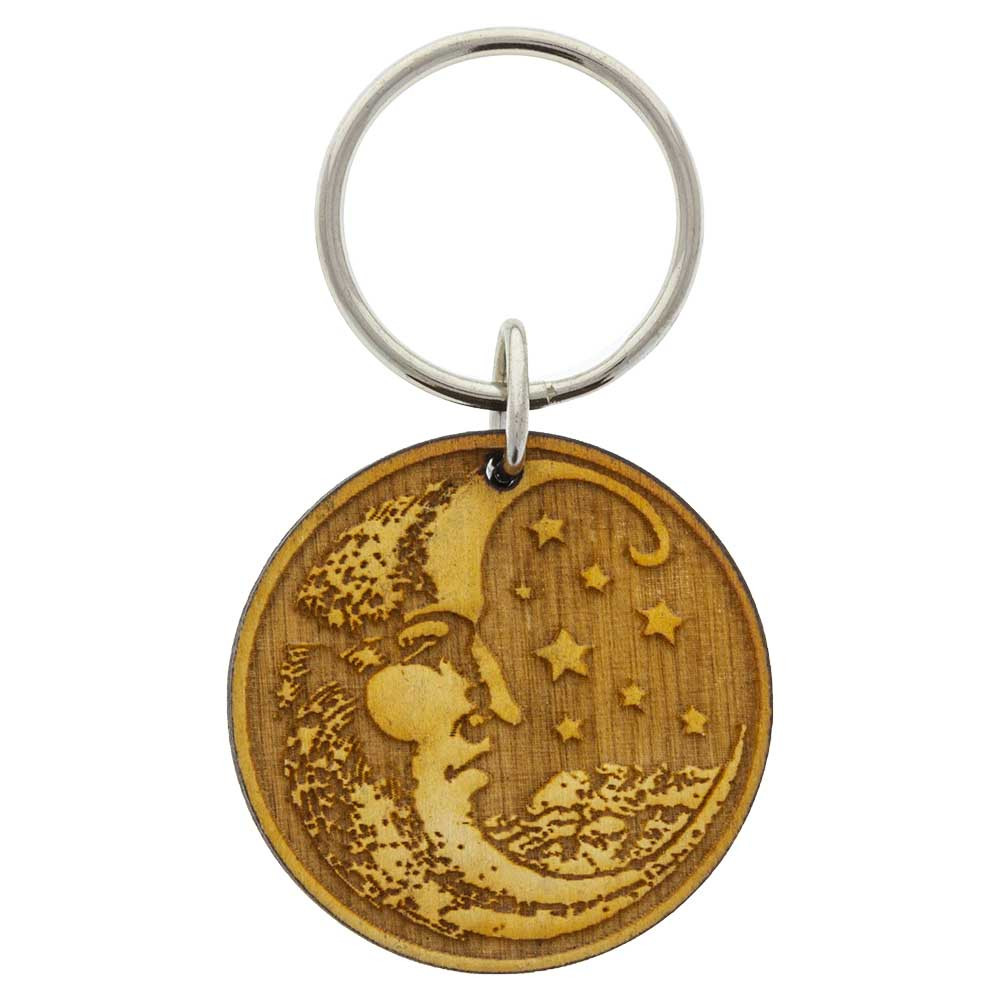 Wooden Moon Keychain decoration from above.