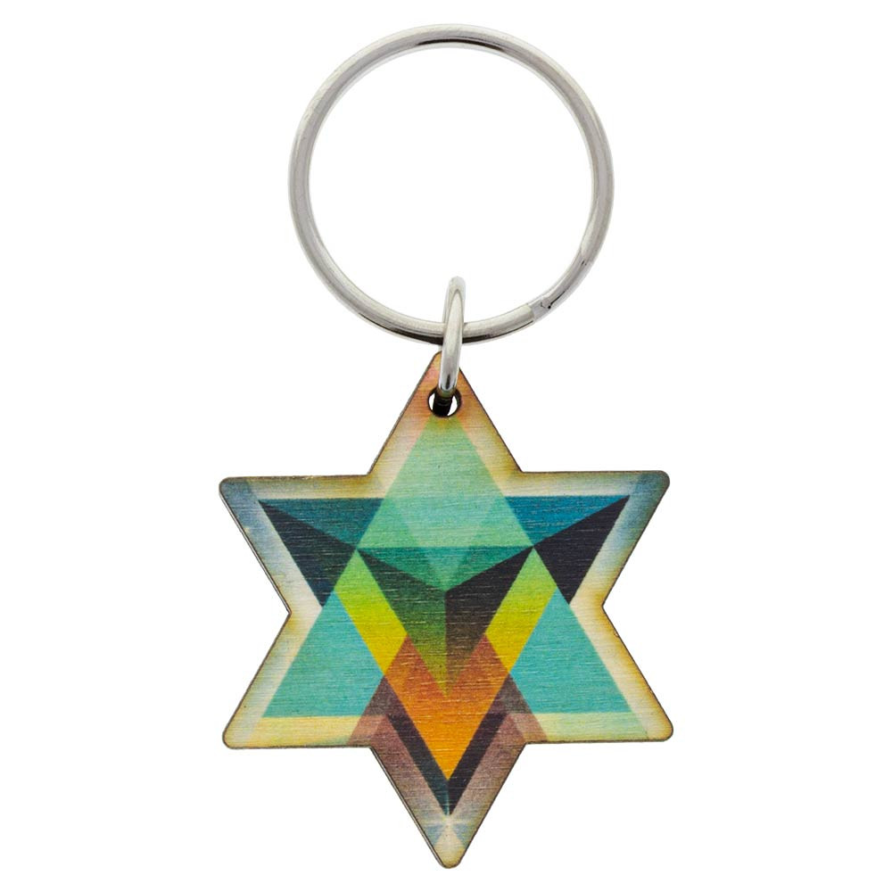 Painted wood Merkaba keychain symbol from the top.