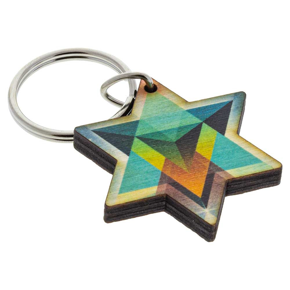 "Merkaba keychain decoration made in America from 1/4"" Baltic birch."