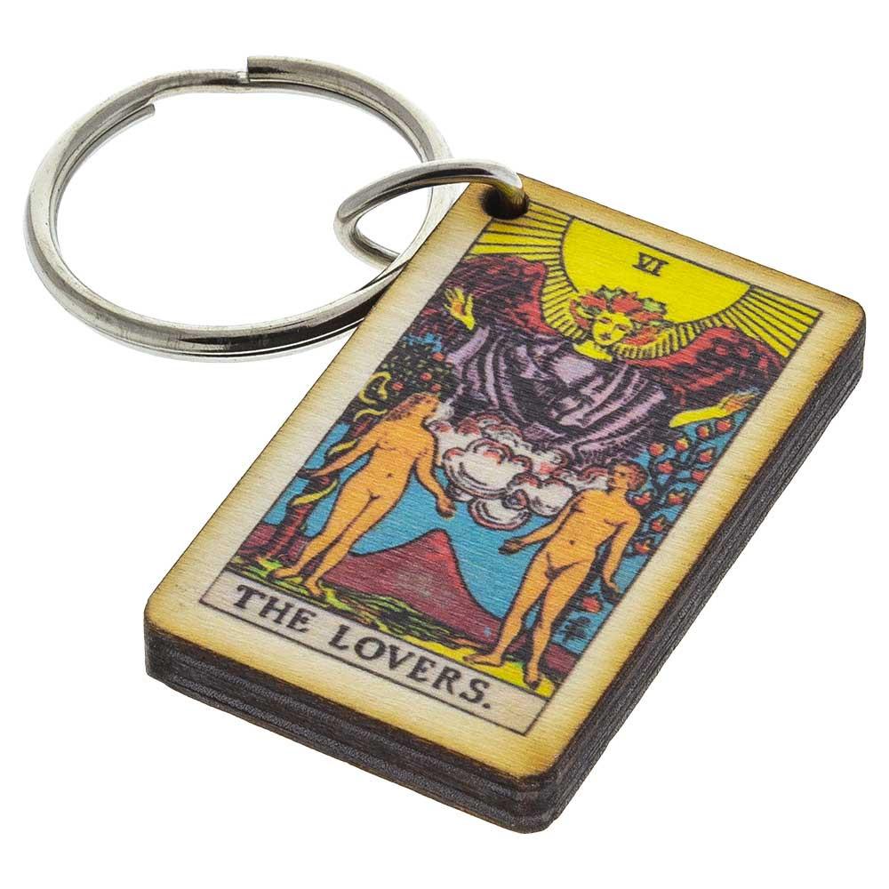 "Major Arcana Tarot Card ""The Lovers"" Keychain made from 1/4"" birch wood."