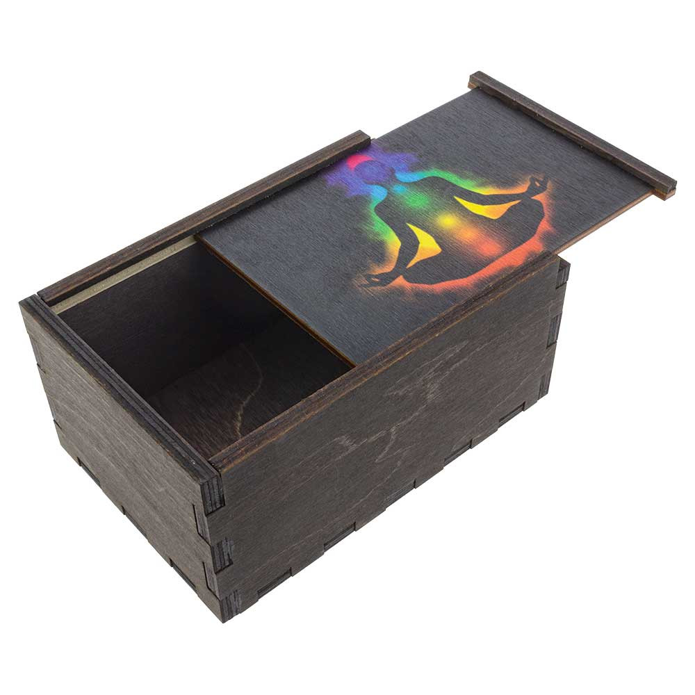 Chakra Aura wooden stash box with top tray ajar.