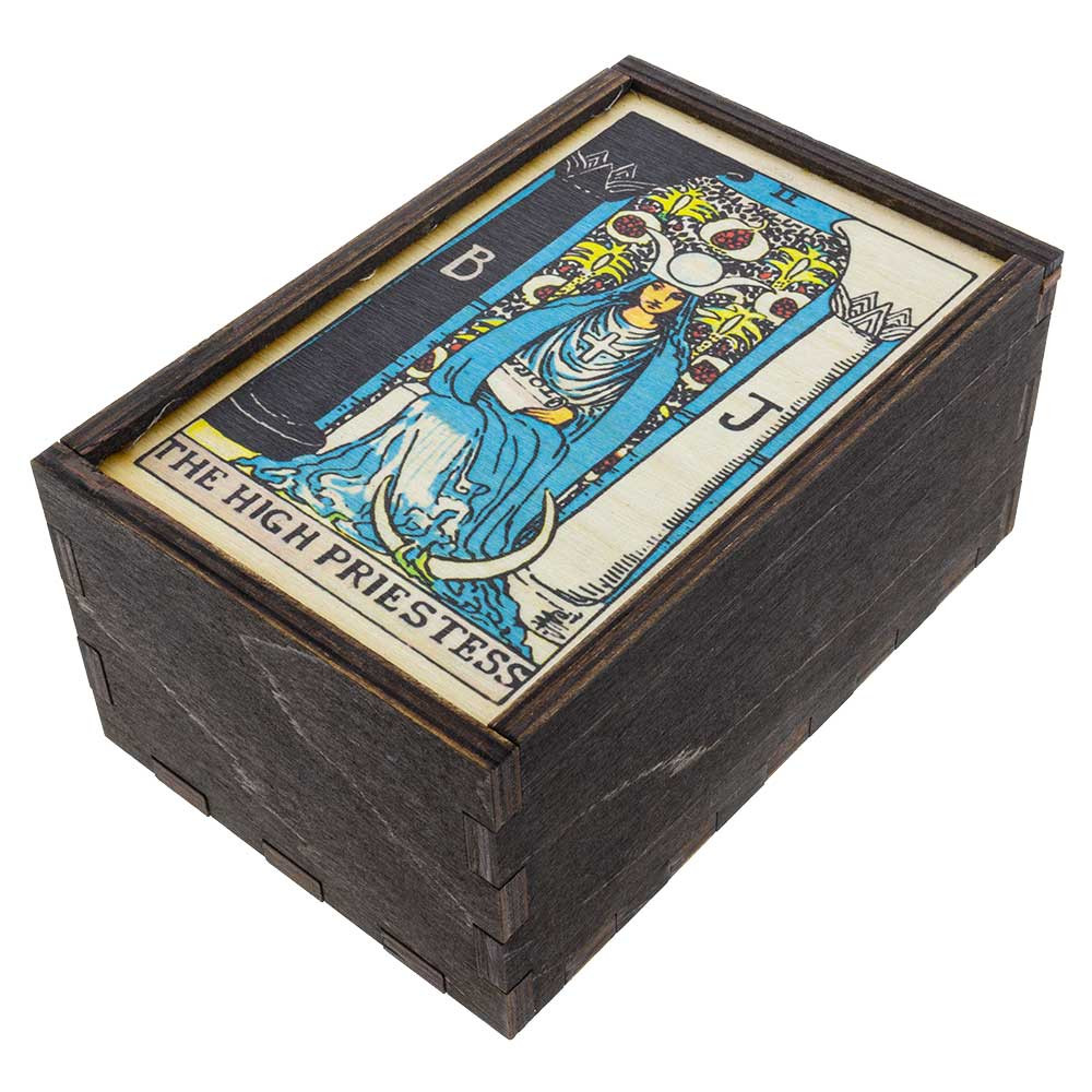 Closed High Priestess medium stash box quarter view.