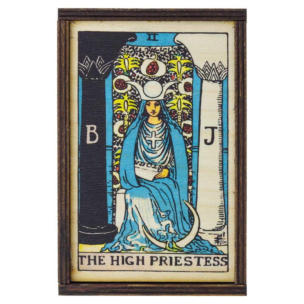 Top view of High Priestess Tarot card medium stash box.
