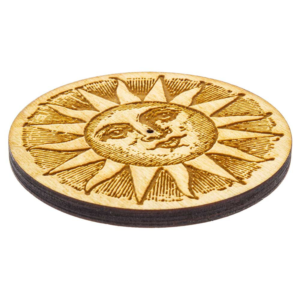 Low view of the Etched Sun Round Incense Burner.