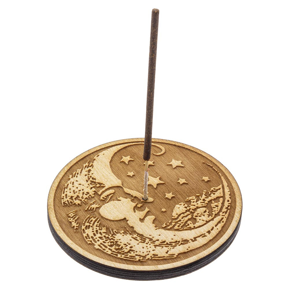 Etched Moon round incense burner with a single Shortie incense stick.