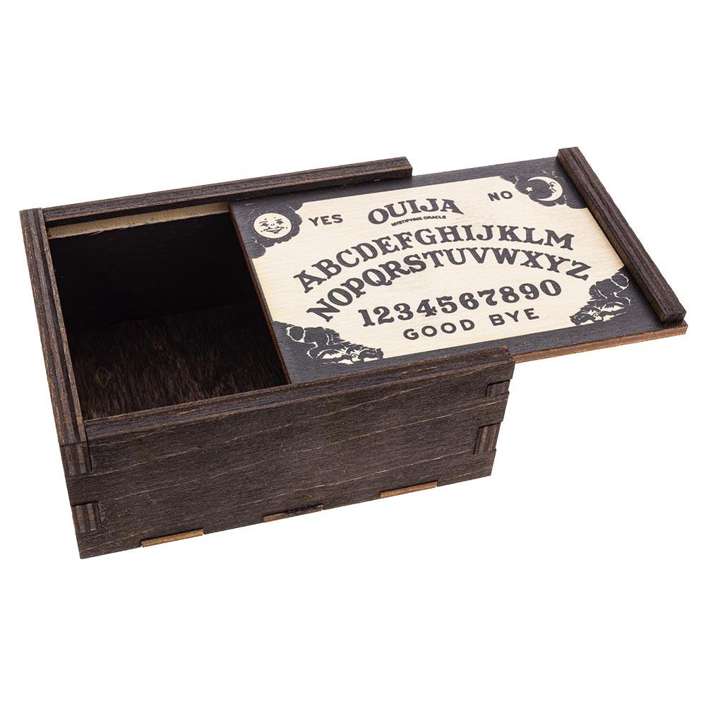 Ouija Board Small Stash Box with tray top ajar.