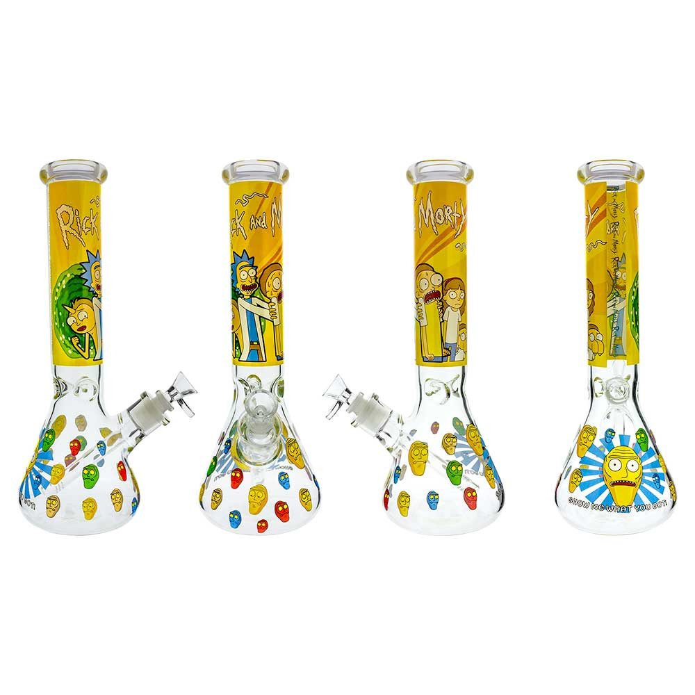 Each side of the bong in a rotated view to show off every inch of graphics on its surface.