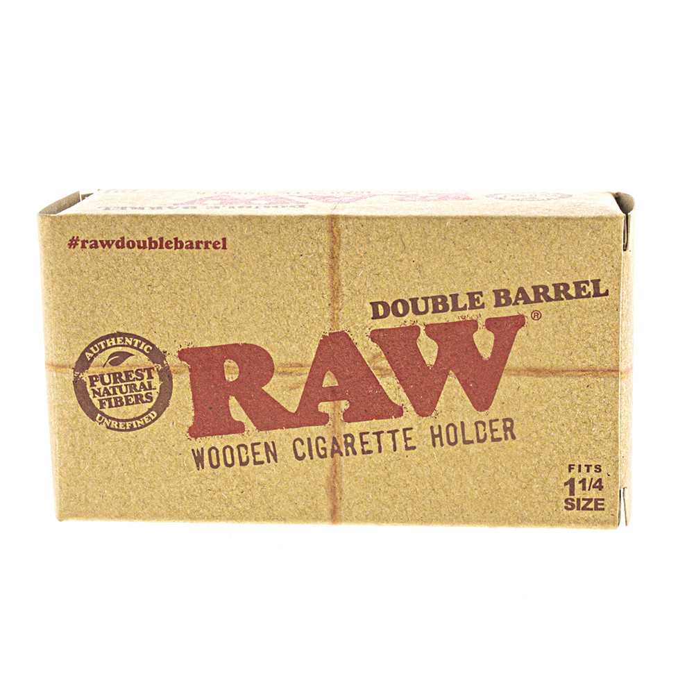 Raw double barrel wooden cigarette and joint holder boxed.
