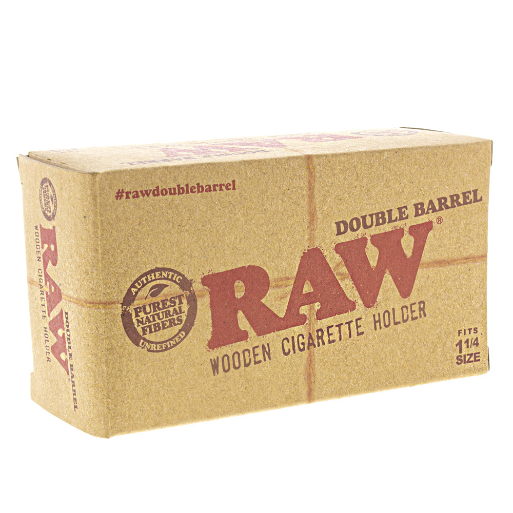 Side boxed view of the official Raw double barrel wood cigarette and joint holder.
