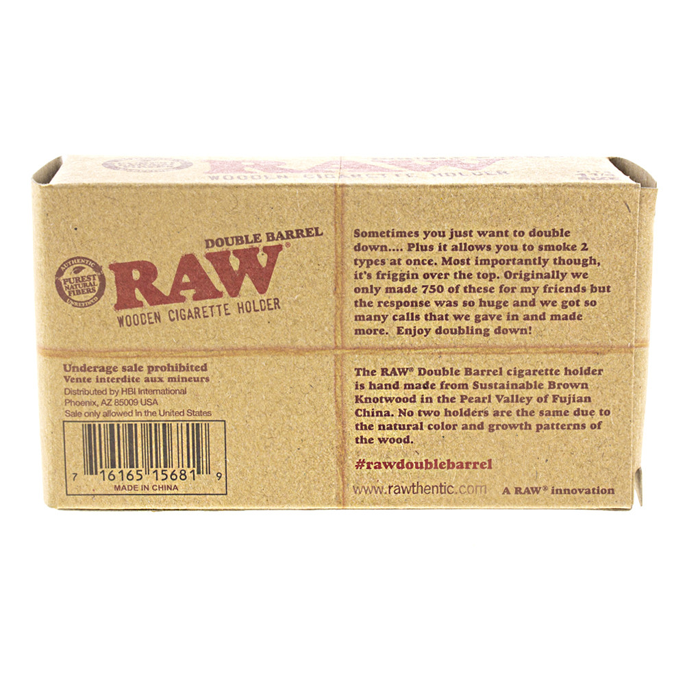 Back side of the Boxed Raw double barrel.