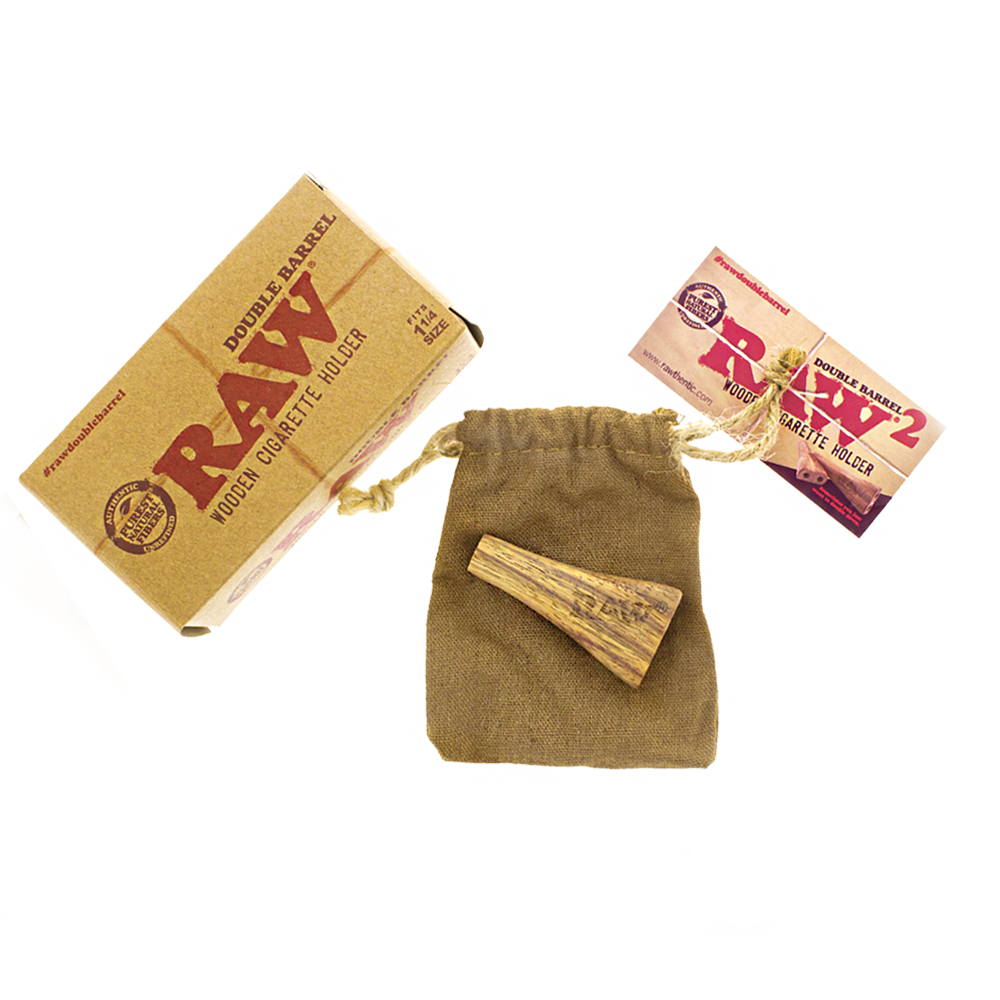Raw double barrel with box and draw string travel bag and informational card.