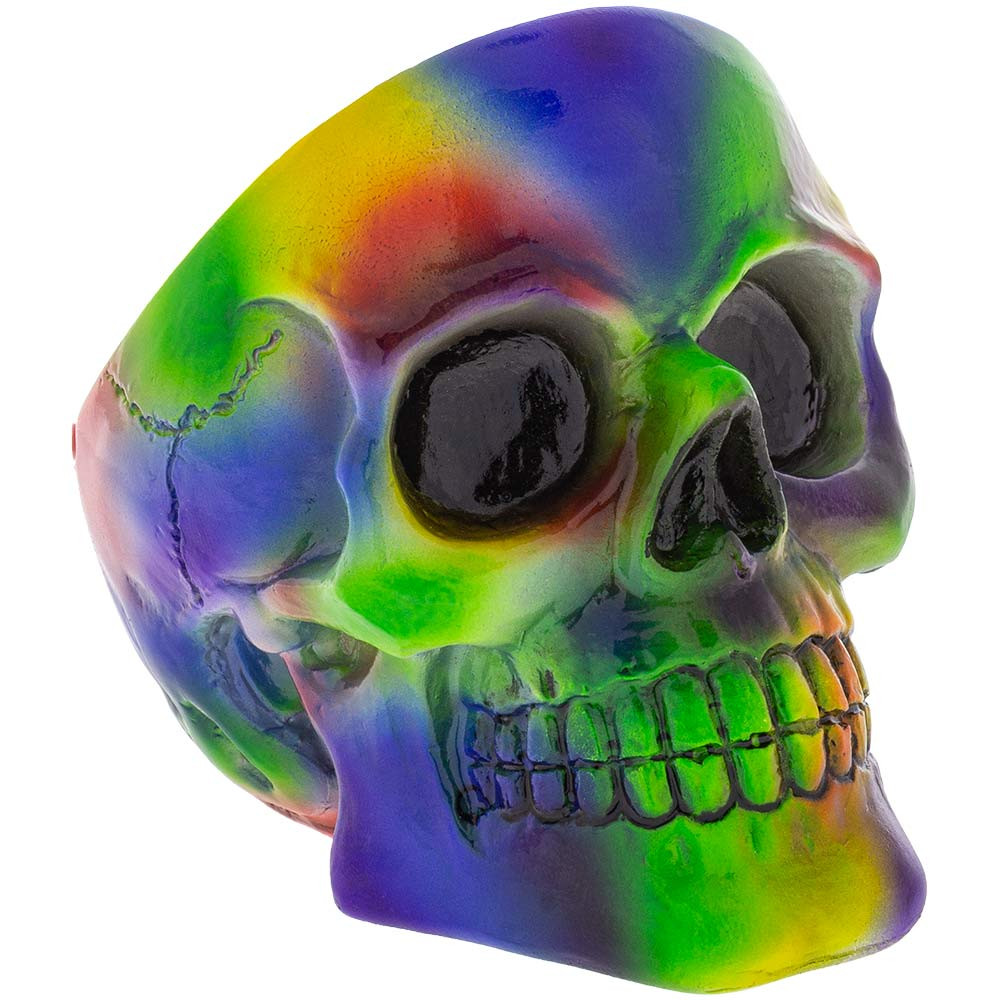 Front view of the sculpted face of this Tie Dye Skull Ashtray.