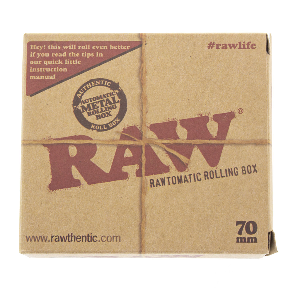 Boxed front view of the Raw auto roll box in black metal.