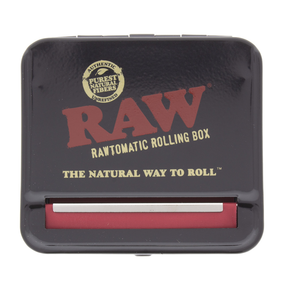 Above view of the Raw auto box metal tin stash box and roller for 79mm papers.