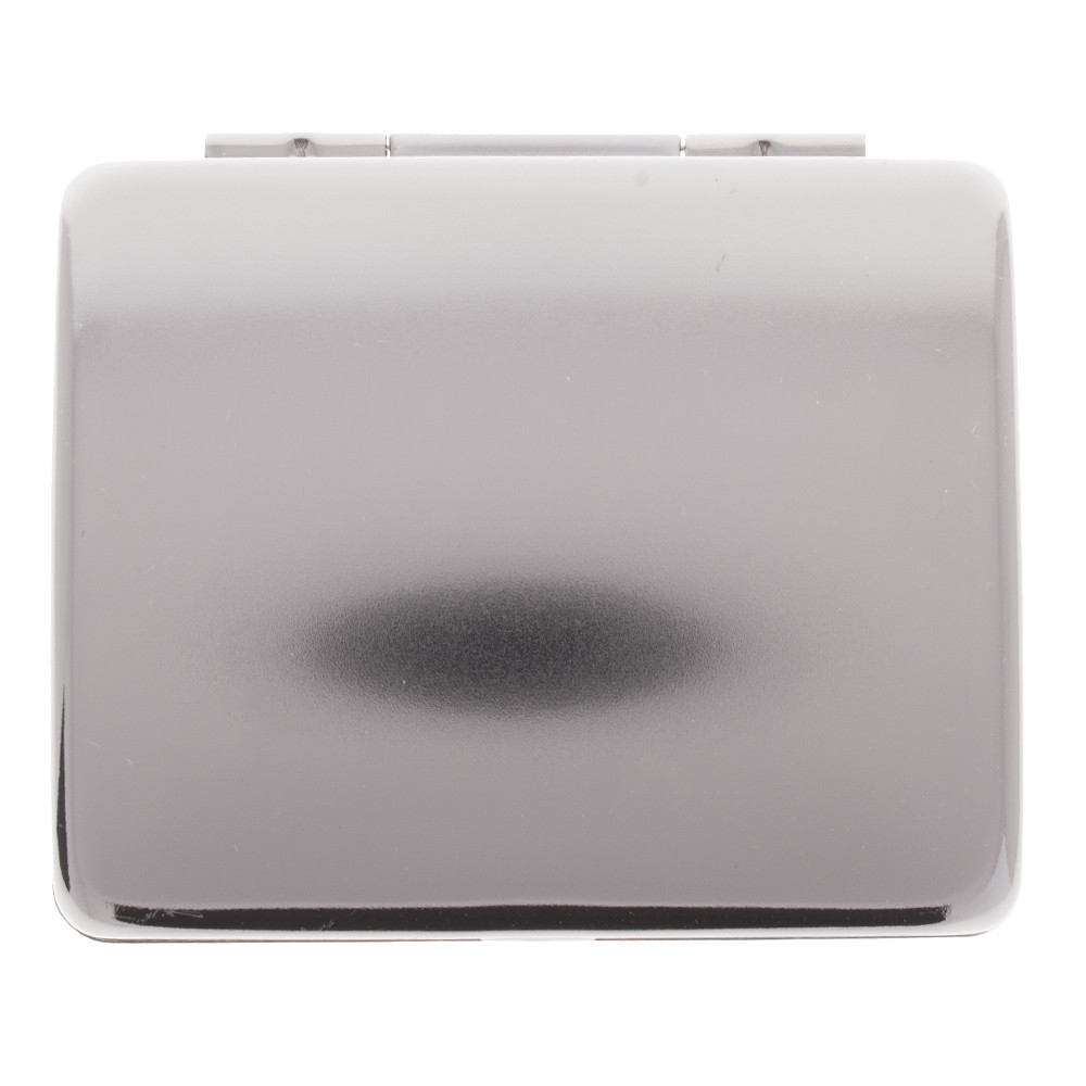 Back view of the Raw auto roll tin box in silver.