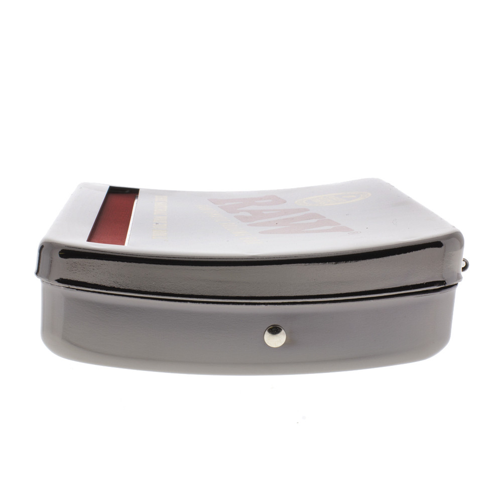 side view of the Raw auto roll tin box.