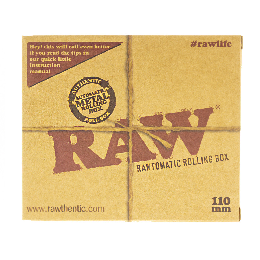 Boxed font view of the Raw metal tin auto roll box for 110mm papers.