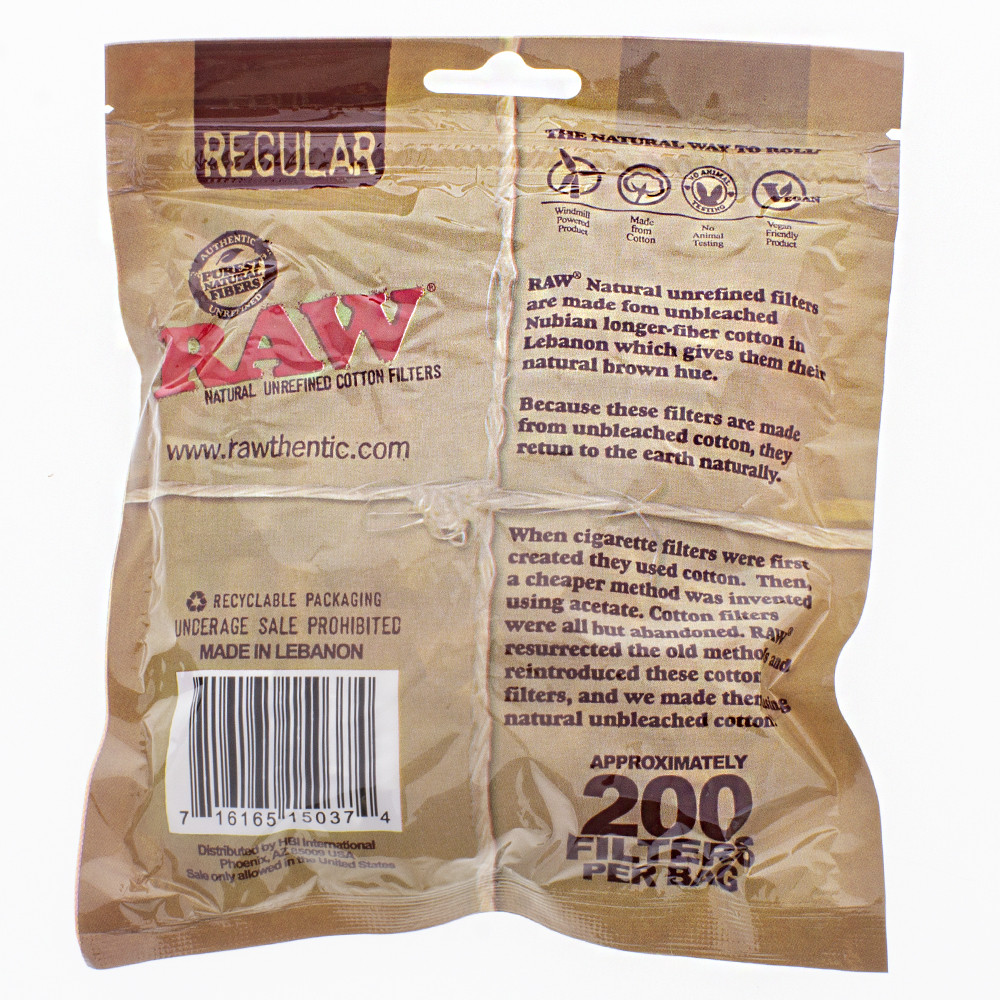 Back view of the 200 piece Raw zip lock bag of unrefined regular cotton filters.