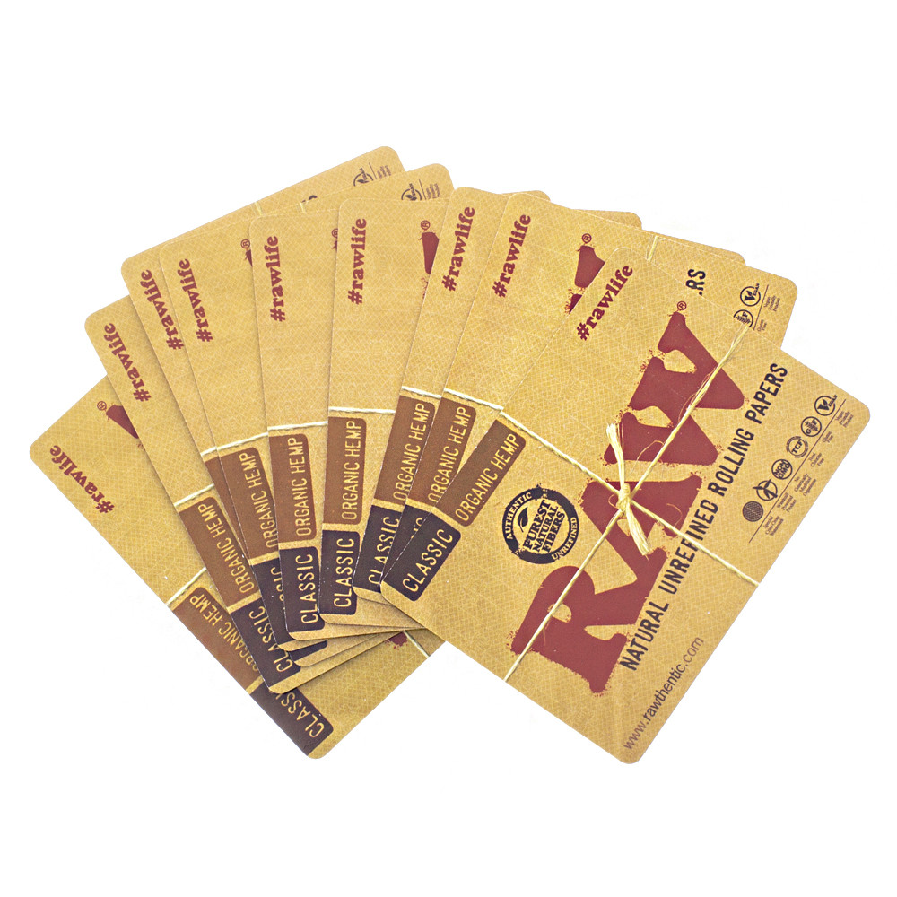 Full deck of Raw rolling papers playing cards.