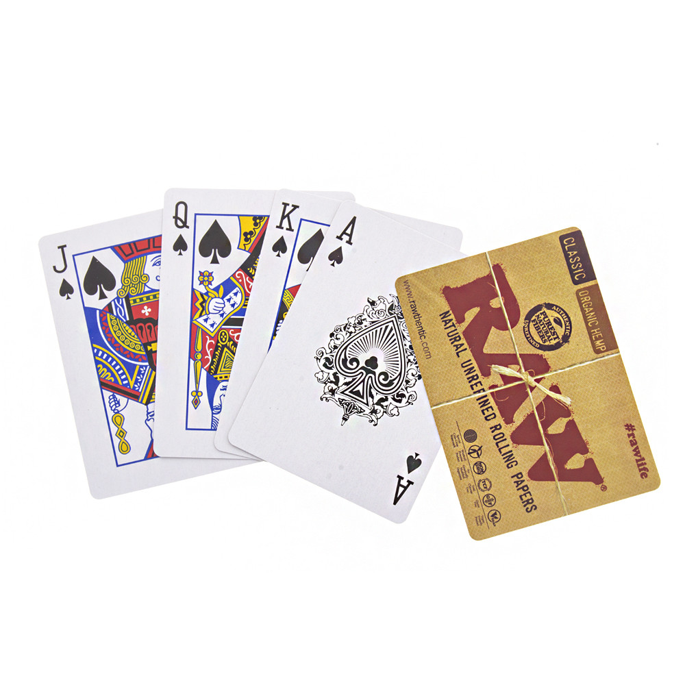 Raw rolling paper playing cards.