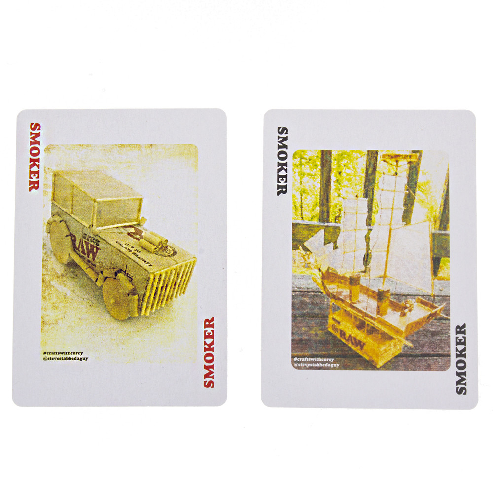 two smoker cards for joker cards in the Raw rolling papers playing cards, crafted by @stevestabbedaguy.