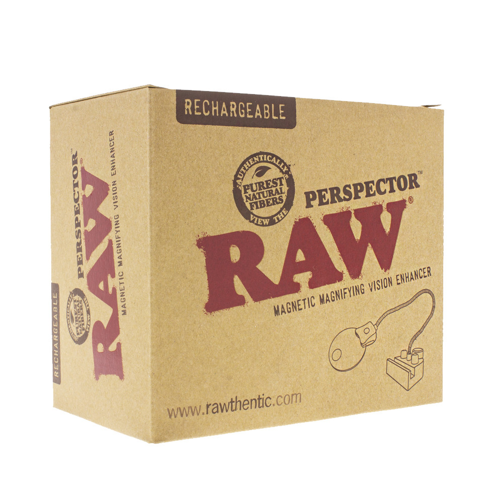 Boxed  Raw perspector magnify glass with light perfect for rolling trays.