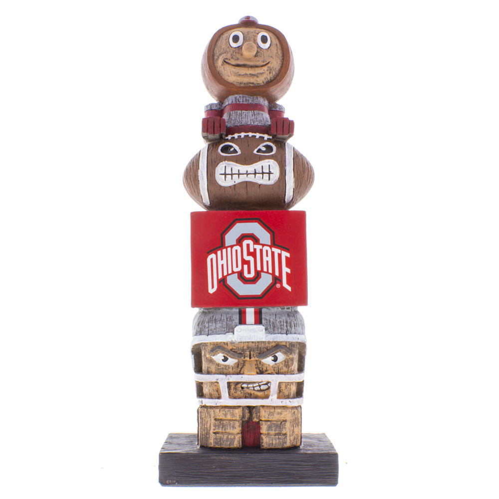 Ohio State Buckeyes college football tiki totem pole with Brutus on top.