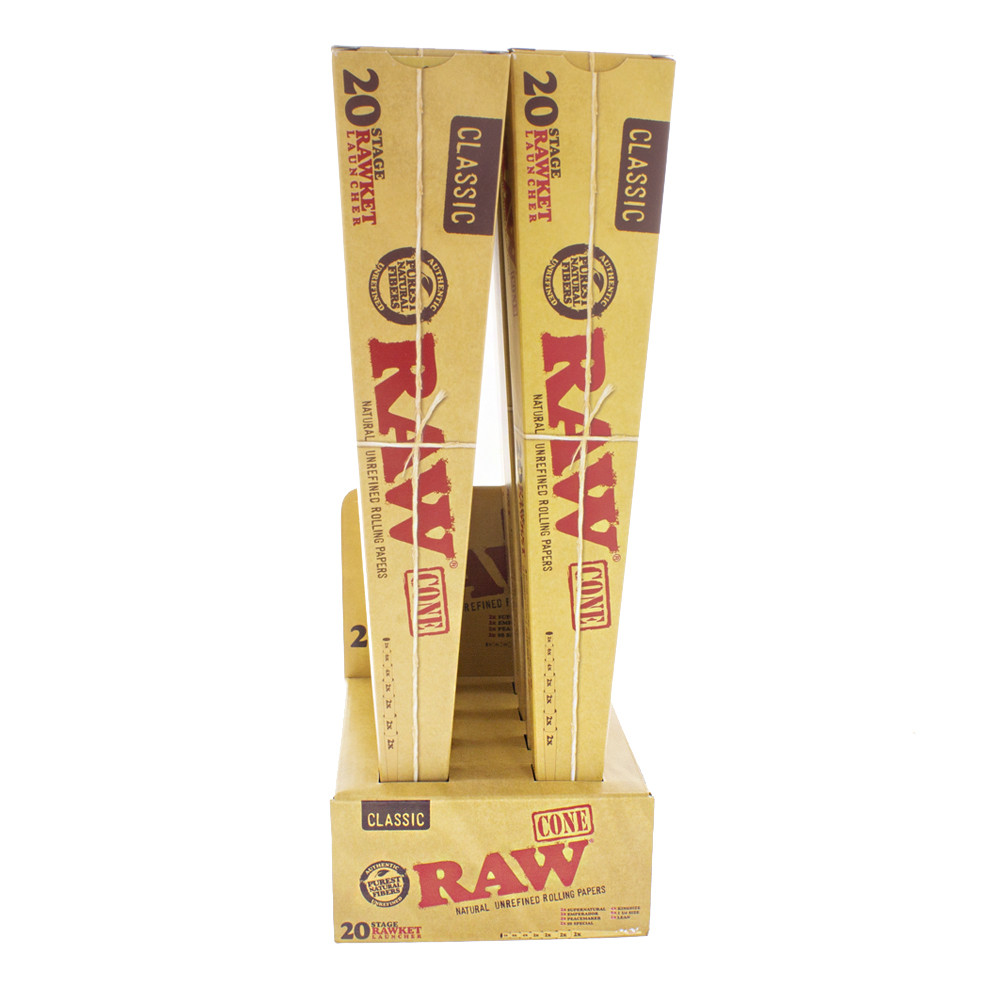 Full display of the Raw rawket launcher with 20 assorted pre rolled cones with tips.
