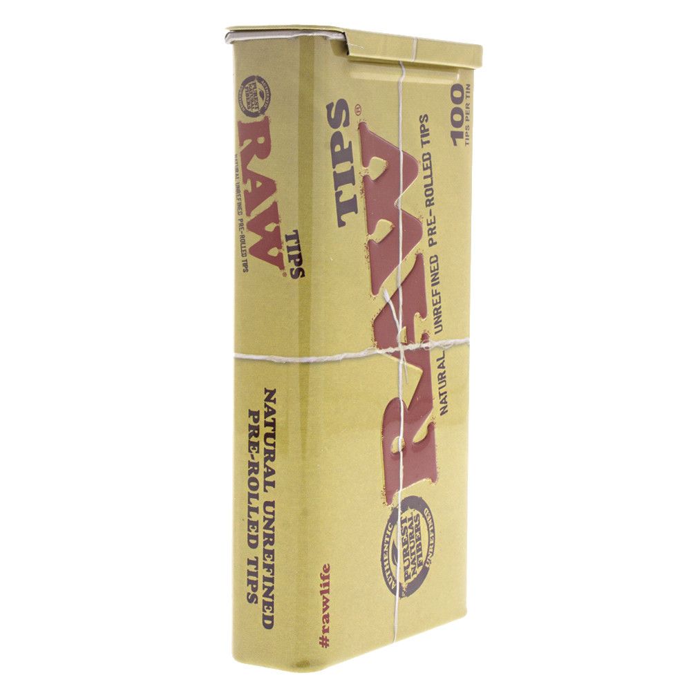 Side view of the Raw 100pc pre rolled tip tin.