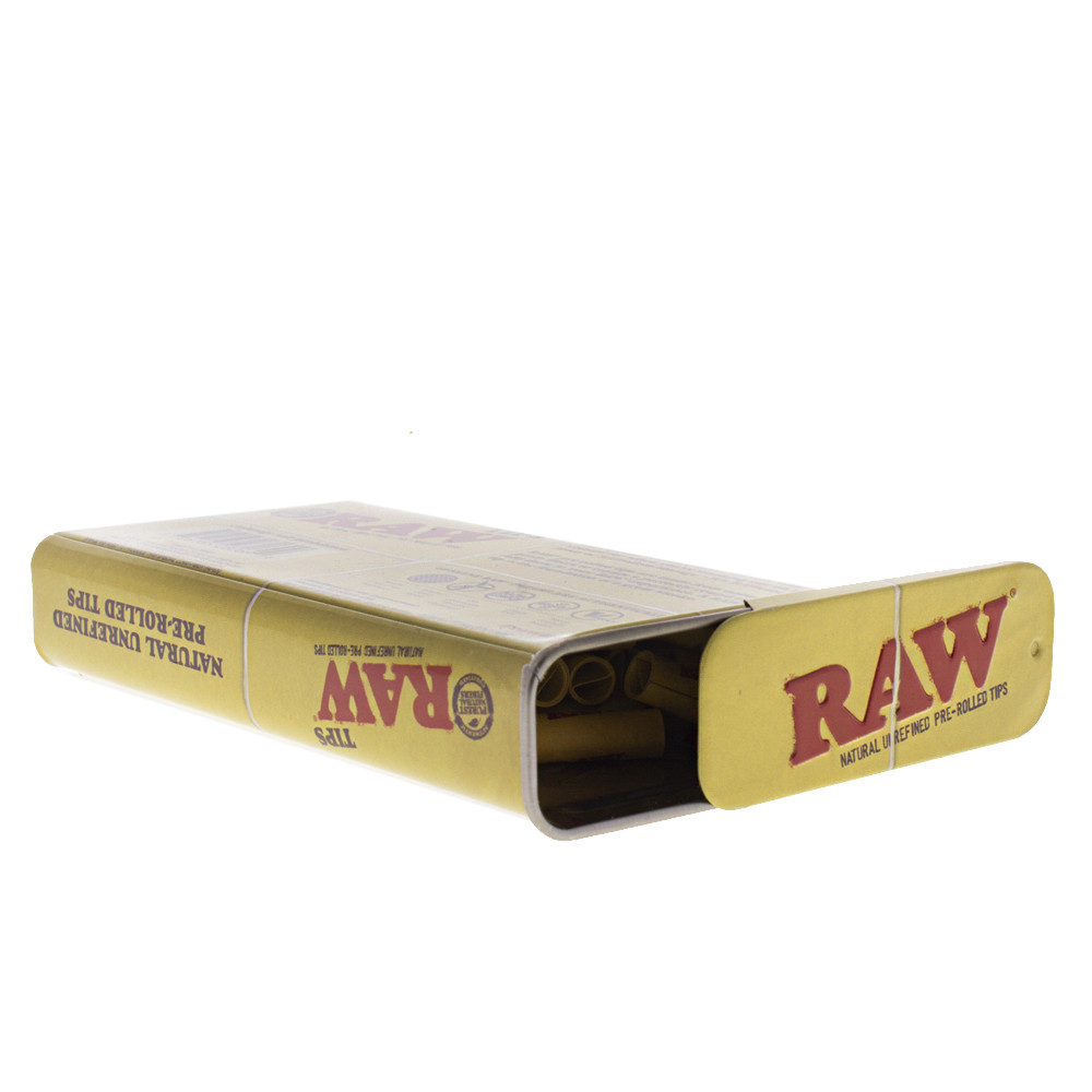 Slide off the top of the Raw pre rolled tip tin to dispense your pre rolled tips.