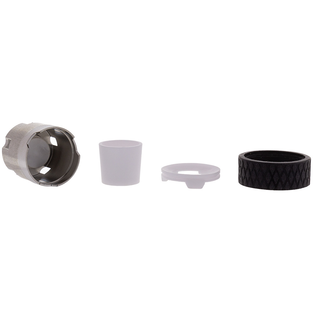 This atomizer can be broken down into four parts (from left to right): The coil, ceramic cup, ceramic lid, and silicone grip ring.