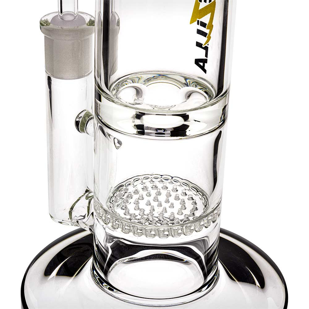 Close view of the single honeycomb perc inside of this waterpipe, as well as the Bullet Hole ice catch.