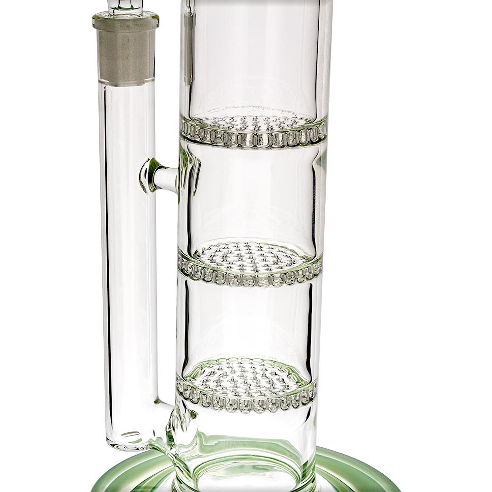 Close view of the triple honeycomb percolators inside this water pipe.
