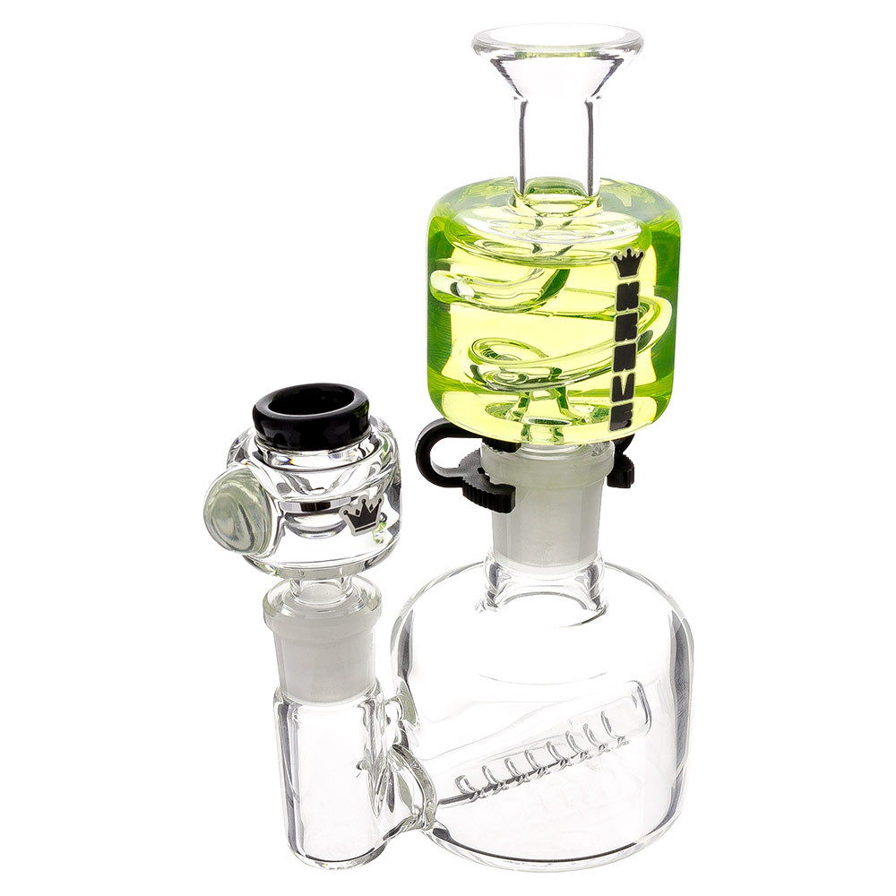 Krave Mini Glycerine Water Pipe viewed from a quarter angle.