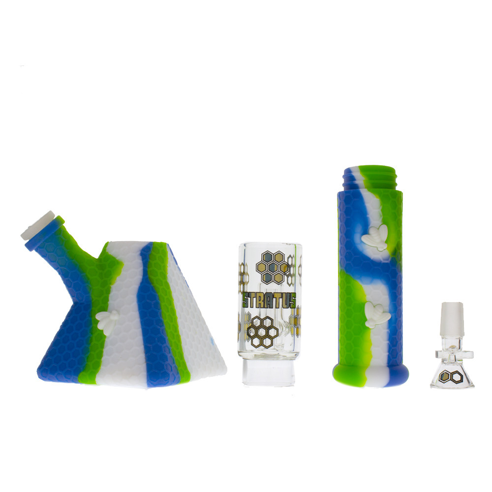 The silicone bong broken down into its main parts: the body, the perc chamber, neck, and bowl.