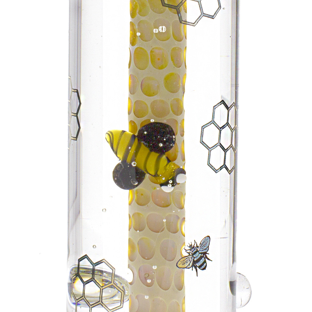 glass bumble bee and honey comb pattern on the liquid filled nectar collector and dry herb bowl.