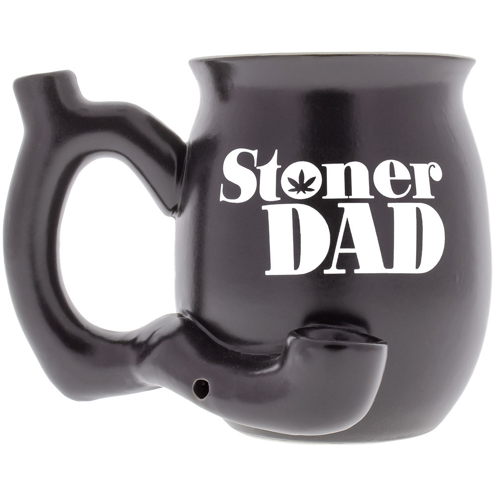 Stoner Dad Ceramic Pipe Mug viewed from the front.