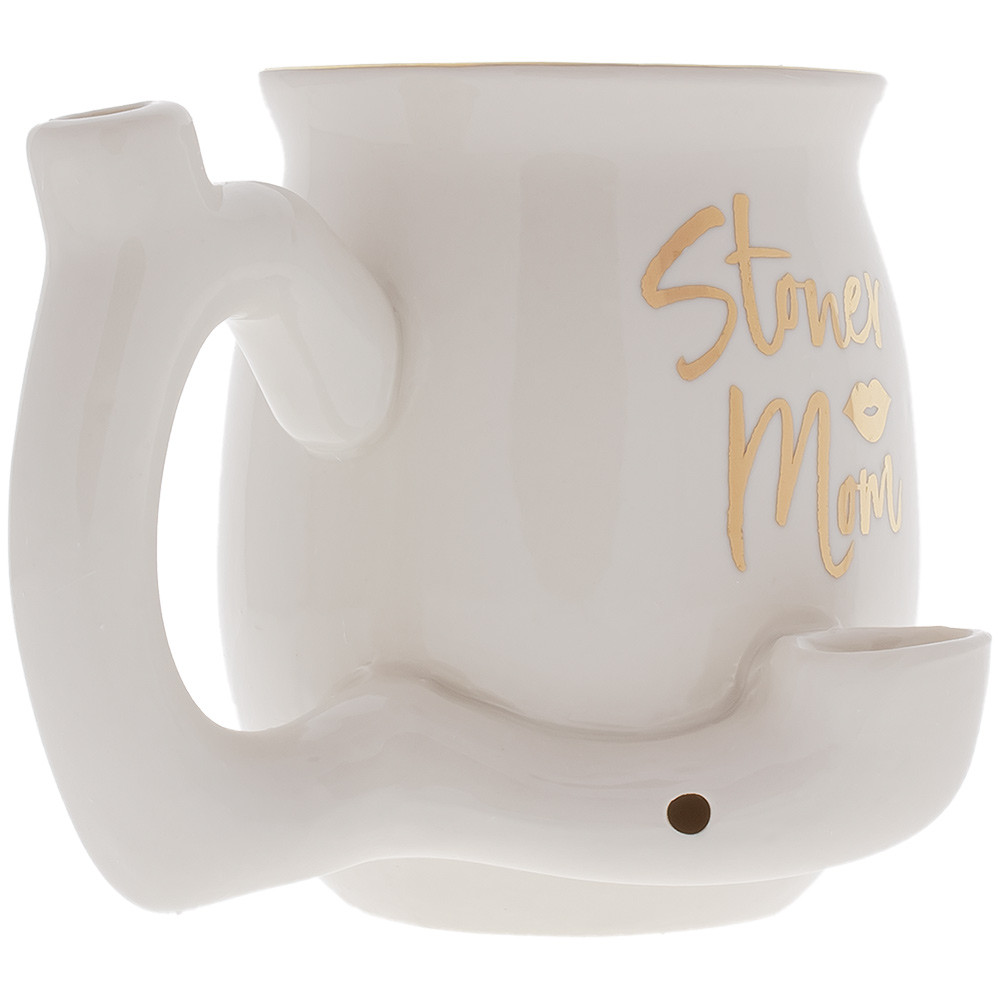 Quarter view of Fashioncraft's Stoner Mom mug with integrated pipe.