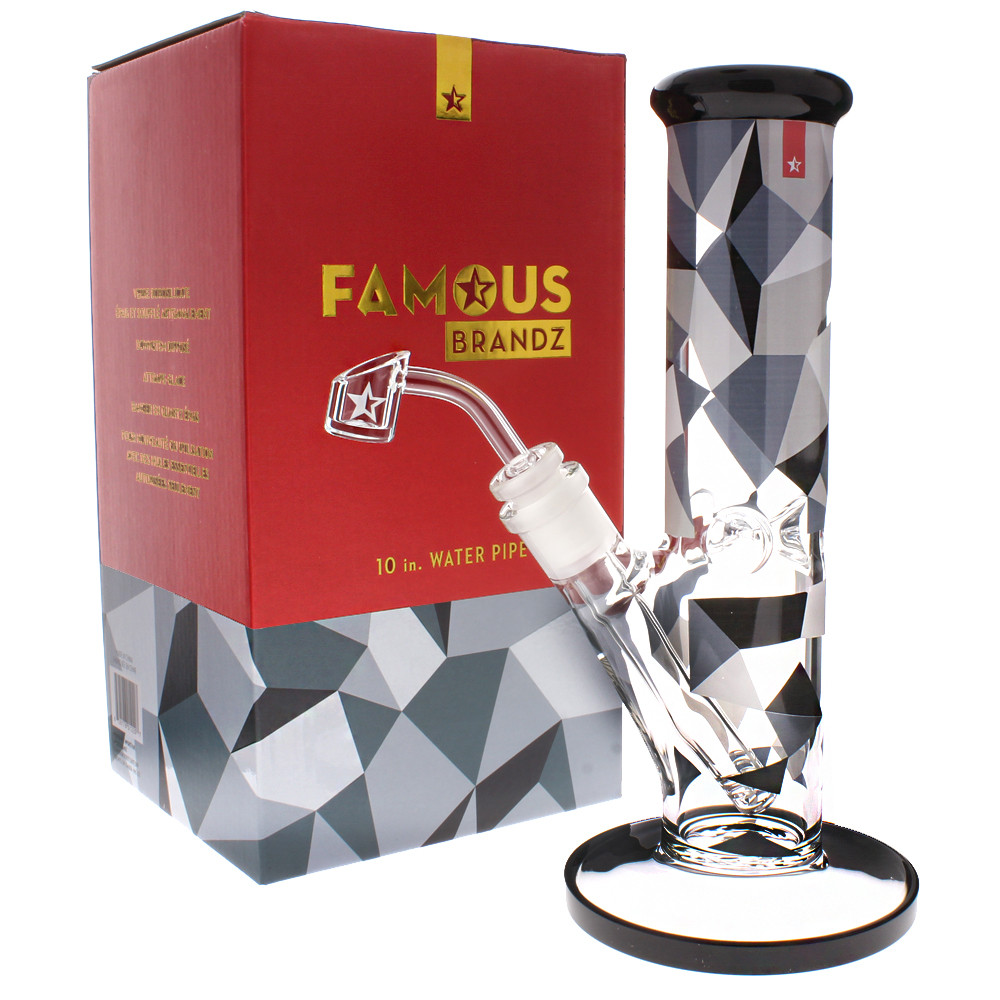 Famous Glass 10 inch tube water pipe bong rig with ice pinch, boxed to it's perfect for gifts.