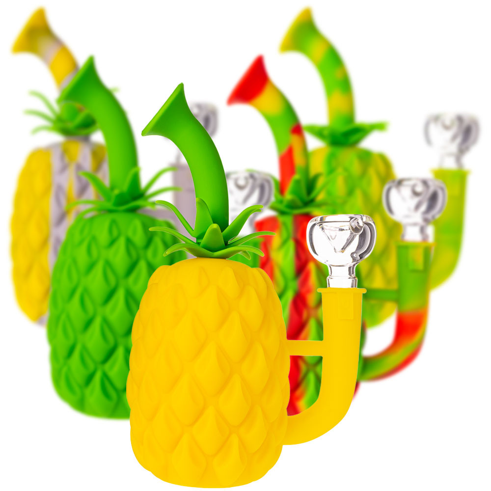 Silicone Pineapple pipe in all of its available colors.