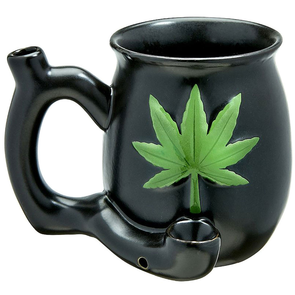 Matte Black Ceramic Mug Pipe with Green Leaf