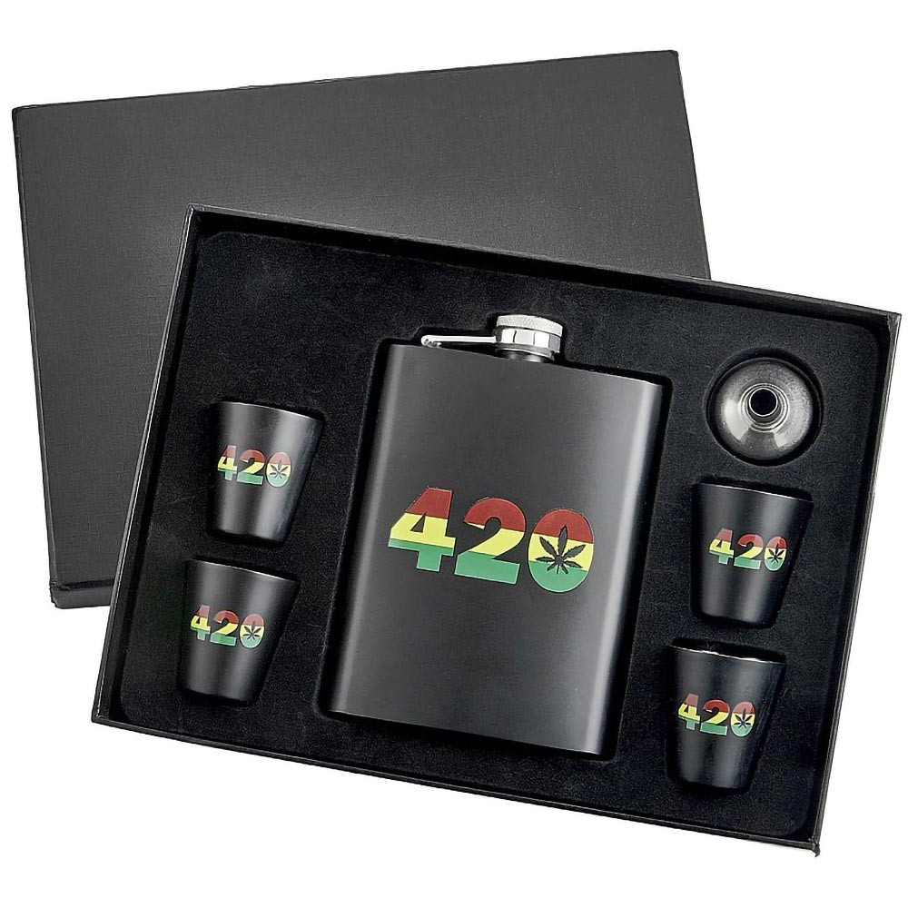 Rasta 420 Flask Set with Shot Glasses and Funnel