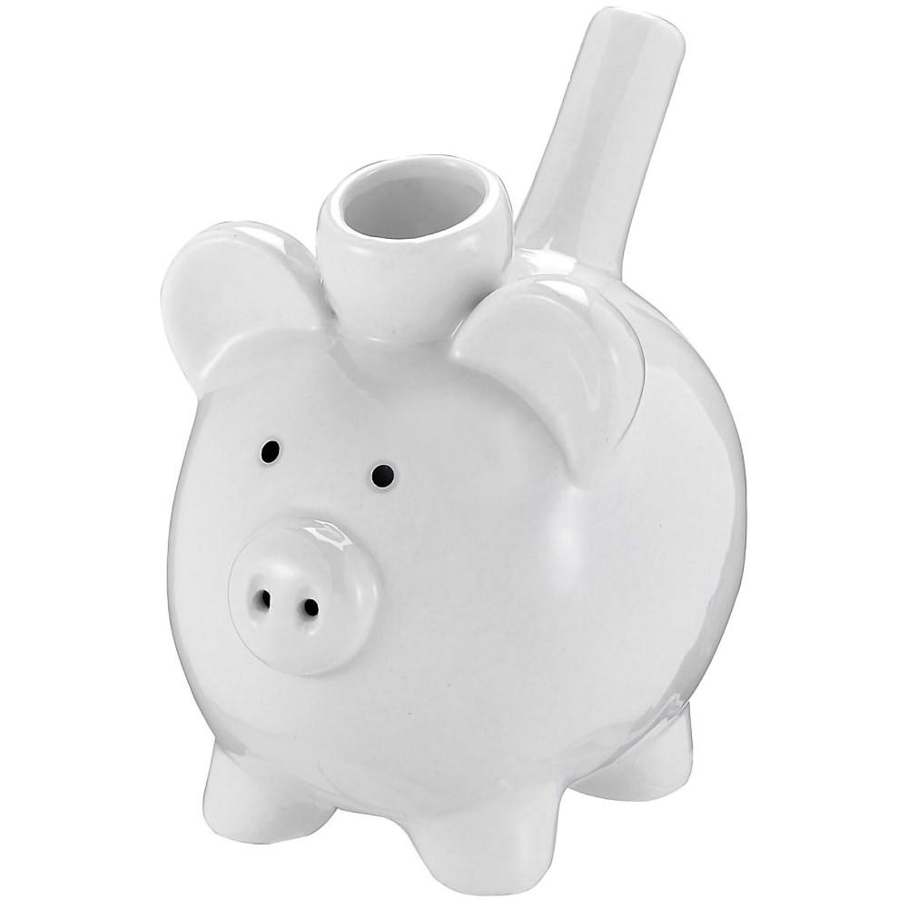 Ceramic Pig Pipe, White